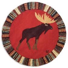Cinnamon Moose Round Hooked 36inch Rug 964CINNAMON.jpg