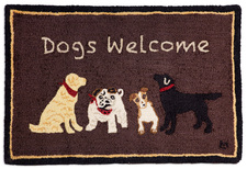 Dogs Welcome on Brown Hooked Accent Rug 2'x3' 965BROWNWELCOME.jpg